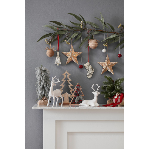 Maine & Crawford Star Plaque Wooden Hanging Ornament with LED light