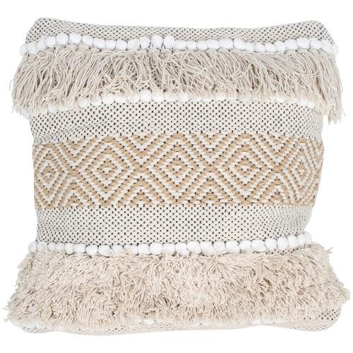 Tasselled Diwali Cotton & Jute Cushion Cover