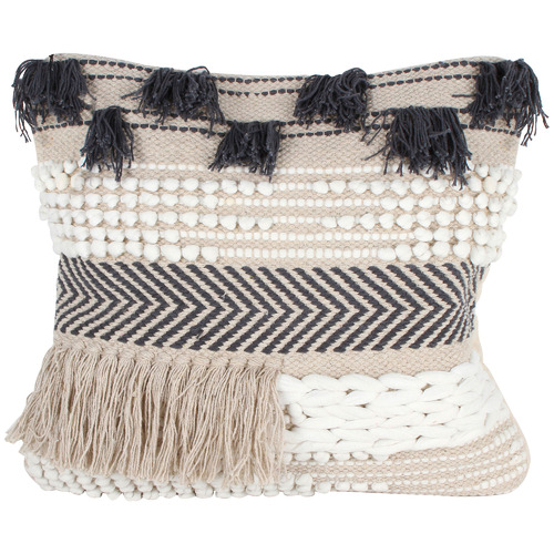 Maine & Crawford Dusk Macrame   Fringed Cotton Cushion