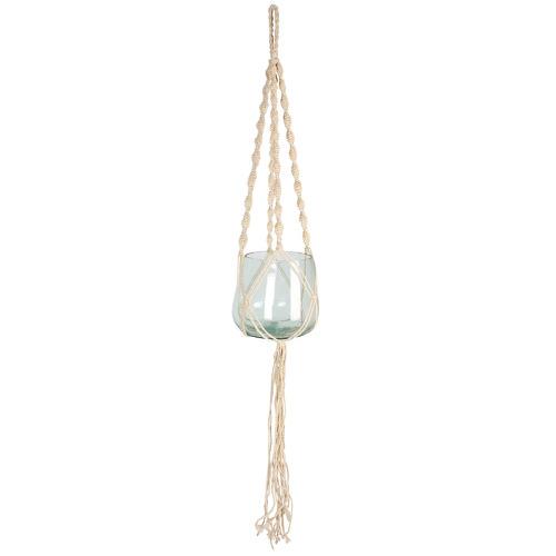 Maine & Crawford Macramé Cori Jute & Glass Hanging Planter