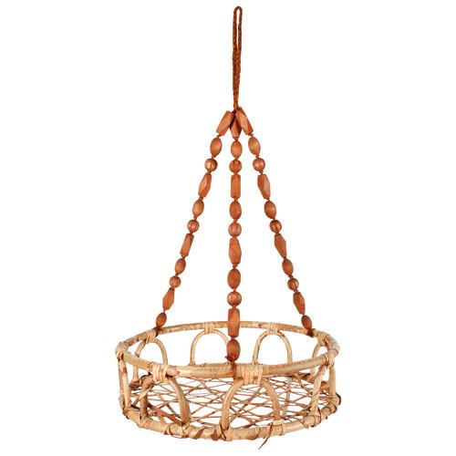 Large Luna Rattan & Bead Hanging Basket Pot