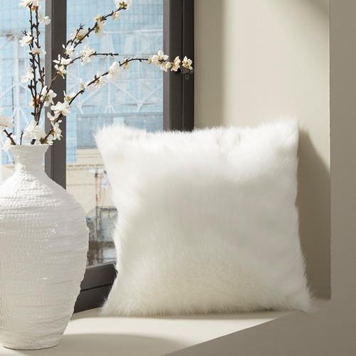 White Haylin White Faux Fur Cushion