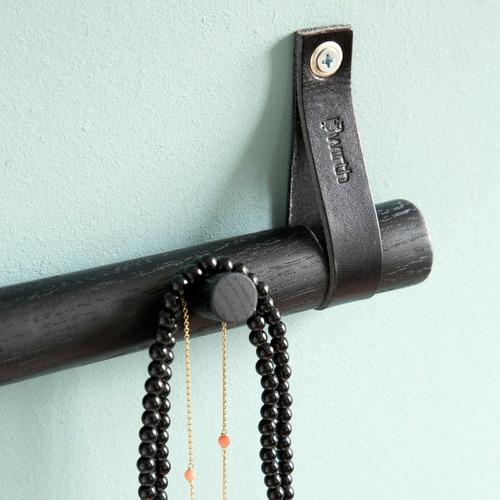 Nordic Rooms Black 4 Dot Leather Coat Hanger