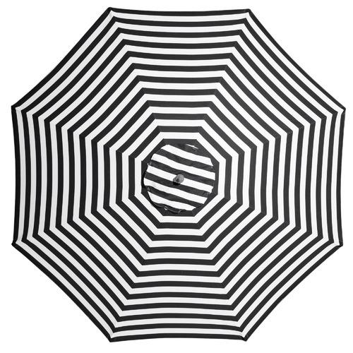 Billy Fresh 3m Black & White Striped French Riviera Market Umbrella