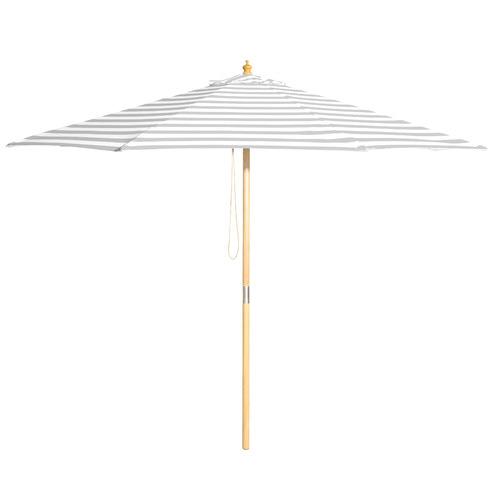Billy Fresh 3m Grey & White Striped Peninsula Market Umbrella