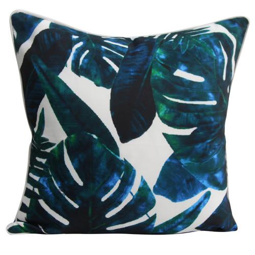 Blue Monstera Outdoor Cushion