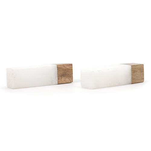 White Marble & Wood Tip Pull Bar