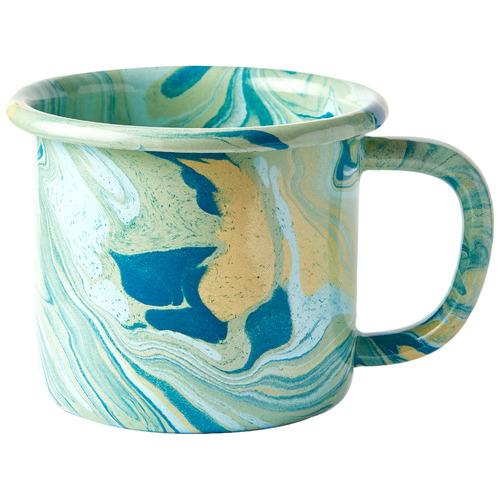 Bornn Green Marble 300ml Enamel Mug