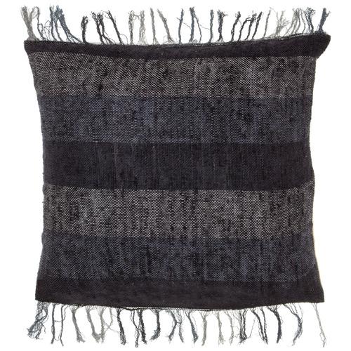 Black Fringed Emerson Square Cotton Cushion