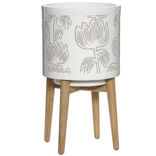Finlayson Alma Ceramic Planter Pot with Stand