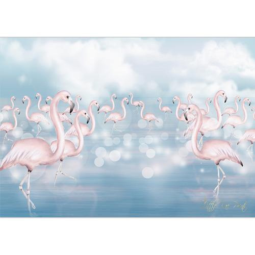 Little Rae Prints Flamingo Flock Unframed Paper Print