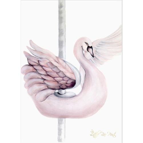 Little Rae Prints Carousel Swan Unframed Paper Print