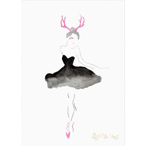 Little Rae Prints Antler Ballerina Unframed Paper Print