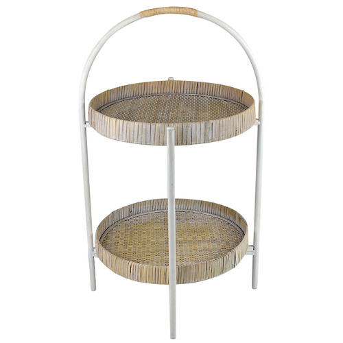 Hub Living White 2 Tier Round Plant Stand