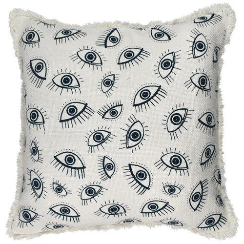 Hub Living White & Navy Agapi Cotton Cushion