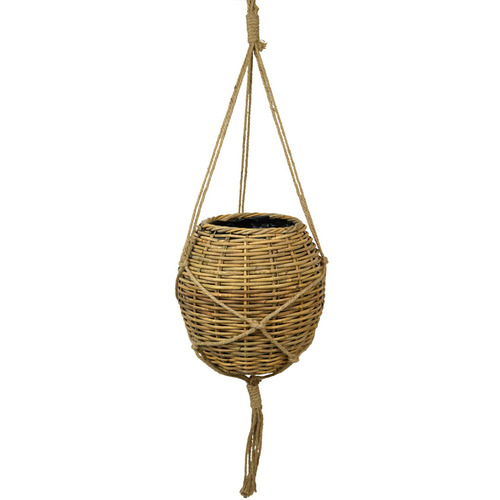 Hub Living 48cm Ball Rattan Hanging Basket