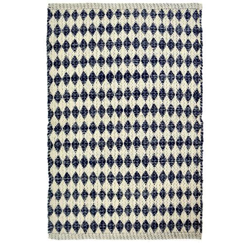 Hub Living Blue & White Diamond Cotton Rug