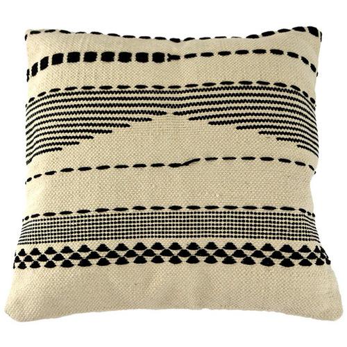 Hub Living Black & Natural Striped Square Cotton Cushion