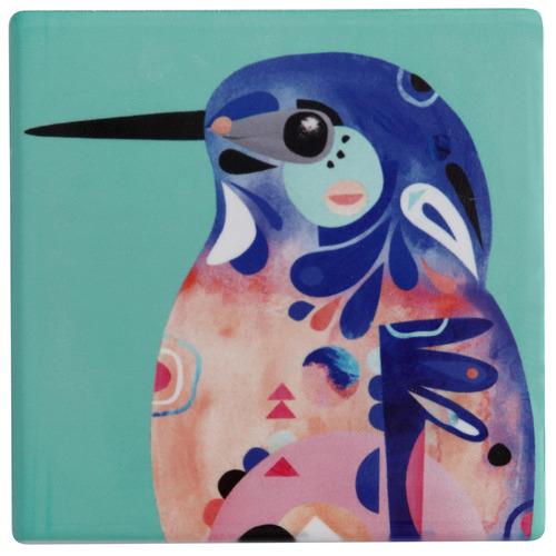 Azure Kingfisher by Pete Cromer Ceramic Coasters