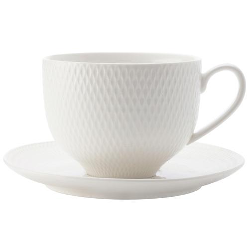 White Basics Diamonds 220ml Teacups & Saucers
