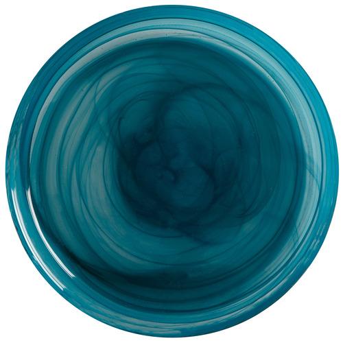 Teal Marblesque 185cm Glass Dinner Plates