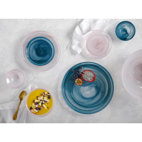 Teal Marblesque 13cm Glass Bowls