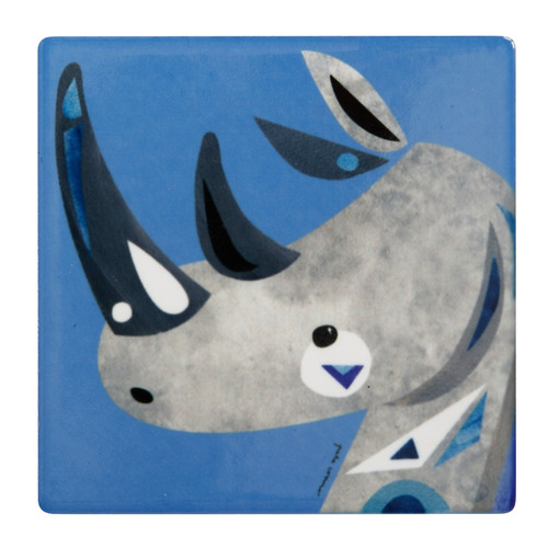 Rhino Pete Cromer Wildlife Square Ceramic Coasters