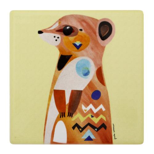 Meerkat Pete Cromer Wildlife Square Ceramic Coasters
