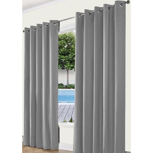 Odyssey Fabrics Silver Alyssa Eyelet Blockout Curtains