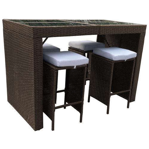 4 seater arcon pe rattan outdoor bar table set