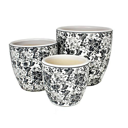 Mojay 3 Piece Black & White Tang High Fire Clay Egg Pot Set