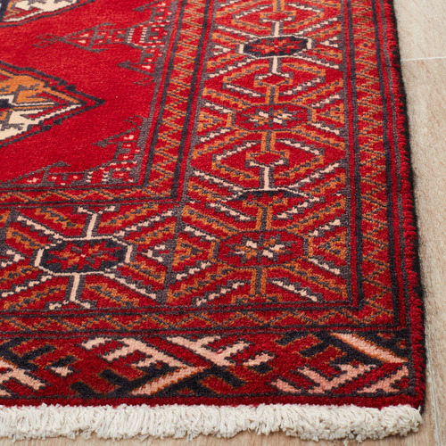 The Handmade Collection Red & Cream Wool Persian Torkaman Rug