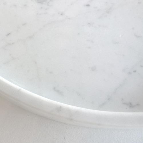 Evie Group White Carrara Marble Round Serving Tray
