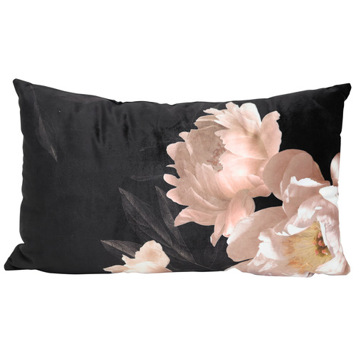 Splosh Black Floral Full Bloom Velvet Cushion