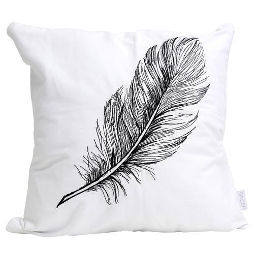 Splosh White & Black Embroidered Tranquil Cotton Cushion