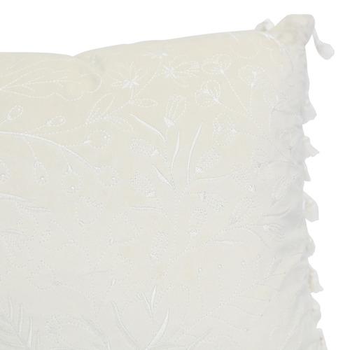 Splosh White Tasselled Full Bloom Velvet Cushion