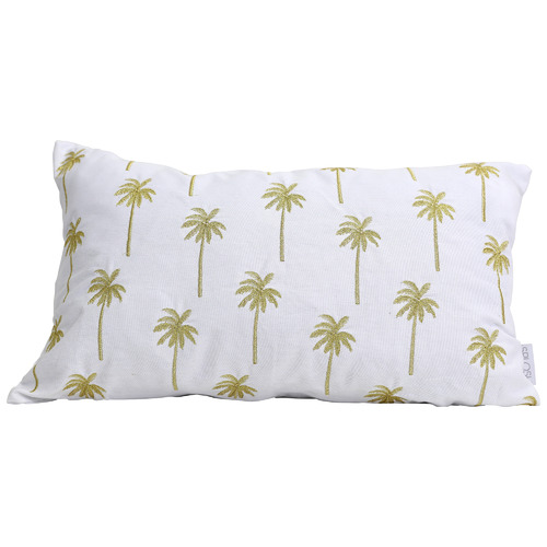 Splosh White & Gold Embroidered Tranquil Cotton Cushion