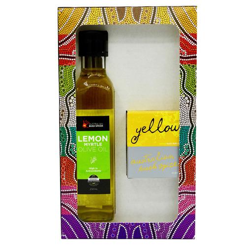2 Piece Olive Oil Infused with Lemon Myrtle & Yellow Bush Dukkah Gourmet Gift Set