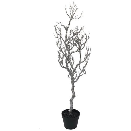 Christiana 121cm Silver Potted Stick Christmas Tree