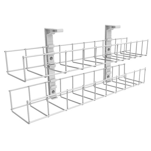 Home Office Designs White Starfall Double Tier Metal Cable Tray