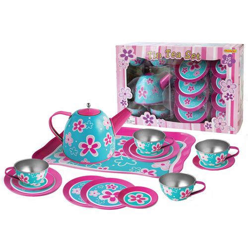Kids' Blue & Pink Flower Tea Party Playset