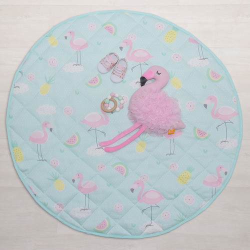 Living Textiles Flamingo Round Cotton Play Mat