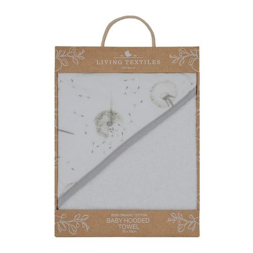 Living Textiles Dandelion & Grey Muslin Hooded Towel