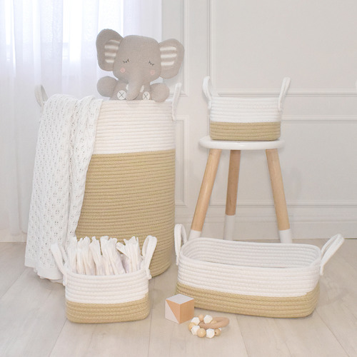 Living Textiles 3 Piece Cotton Rope Hamper