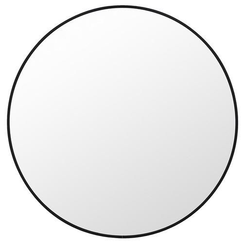 Halo Small Round Black Metal Wall Mirror