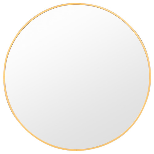 Halo Small Round Brass Metal Wall Mirror