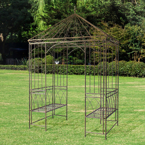 Rustic Brown Garden Gazebo with Built-In Benches