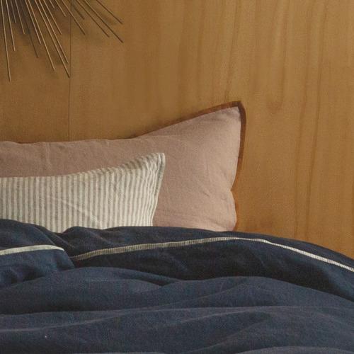 M Home Woodrose Cinnamon-Trimmed French Linen Standard Pillowcase
