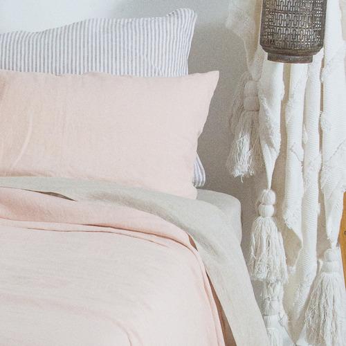 M Home Natural French Linen Standard Pillowcase