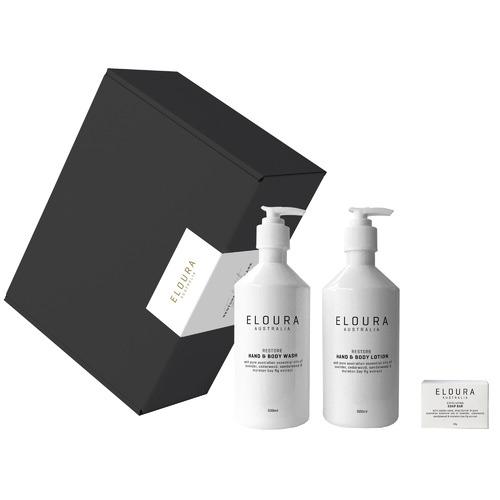 Eloura Australia 3 Piece White Restore Premium Bath Dispenser Gift Set